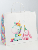 Пакет подарочный крафт «Малыши», 32 × 28 × 15 см 3823508